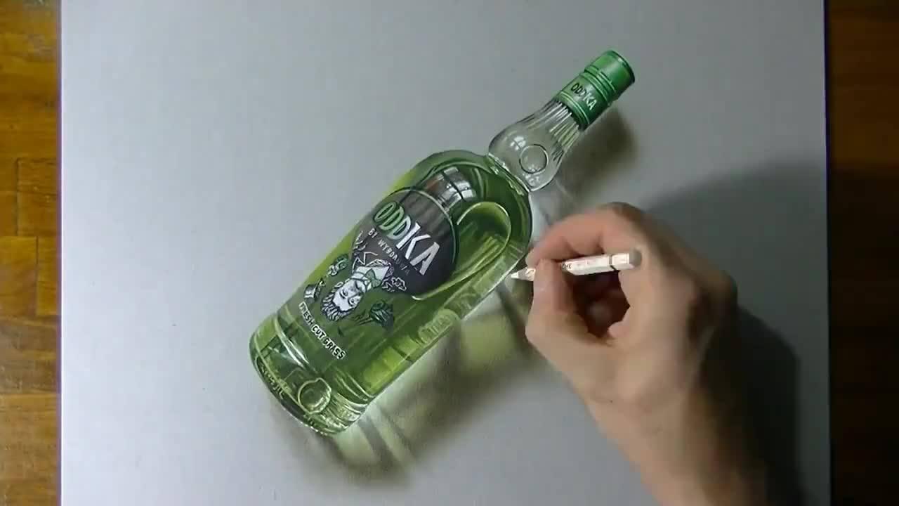3D kresba láhve s vodkou